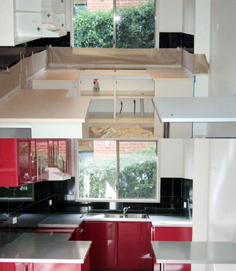 Resurfacing rather than replacing your existing kitchen cupboards can  create huge savings before and after kitchen